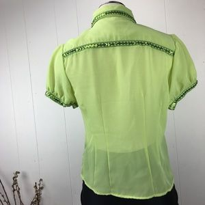 Vintage Tops - Vintage 90s Lime Green Button Down Shirt